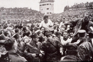World Cup Final, 1954. Berne, Switzerland. 4th July, 1954. West Germany 3 v Hungary 2. West German captain Fritz Walter and coach Sepp Herberger are carried aloft after their victory.